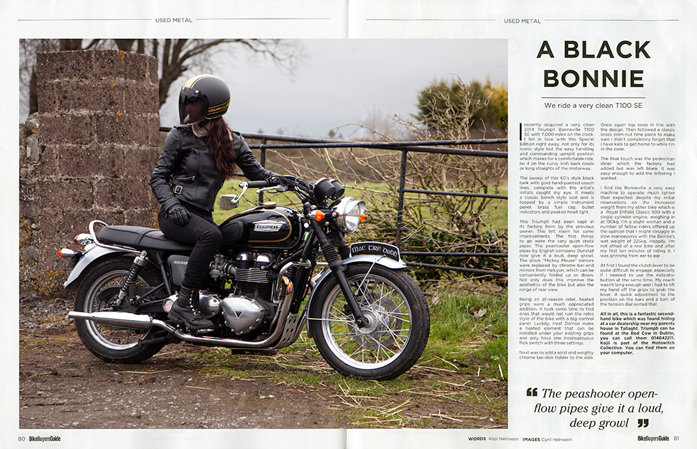 Published article: Review of Triumph Bonneville T100 written by Kojii Helnwein. Published in Bike Buyers Guide magazine March 2019. Photography by Cyril Helnwein