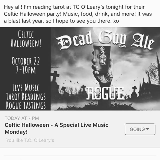 Tonight @theritualspace will be reading tarot at TC O'Leary's annual Celtic Halloween party! @tcolearys #tcolearys #celtichalloween #samhain #irishpub #portland #tarot #celtic #pdx #pdxtarot #halloween