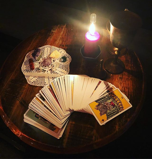 "@tcolearys Reading tarot til 9pm! Come get your cards read! ""It's like therapy but deeper,"" says the lovely woman who just had her cards read. See you at TC O'Leary's Celtic Halloween #Samhain celebration. #halloween #tcolearys #celebration #tarot #pdx #portland #pdxtarot #pdxtarotreader"