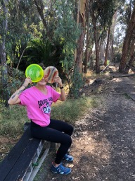 My first disc golf game. I got to walk a lot, throw a lot and even climb a tree!