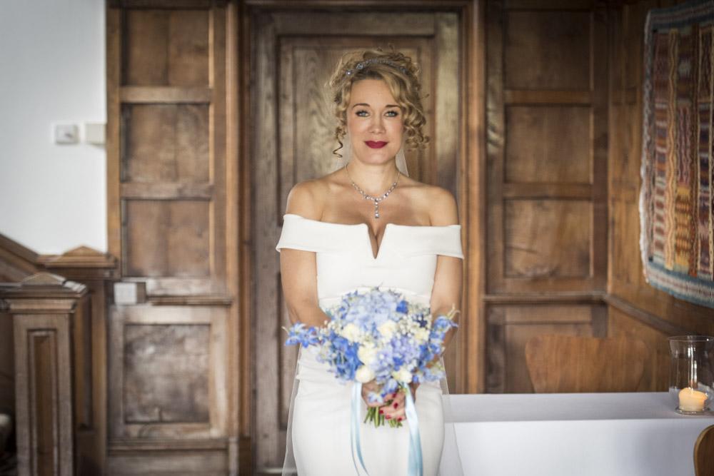 Stunning bride in hallway