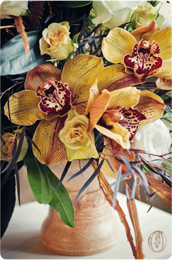 Brown-Cymbidium-Orchid-Metallic-Bronze-Pottery-Floral-Arrangement-Oleander-NJ-Bucks-County-PA-Wedding-Florist