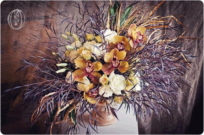 Brown-Orange-Gold-Burgandy-Cymbidium-Orchid-Rose-Avant-Garde-Organic-Floral-Arrangement-Oleander-Bucks-County-Wedding-Florist