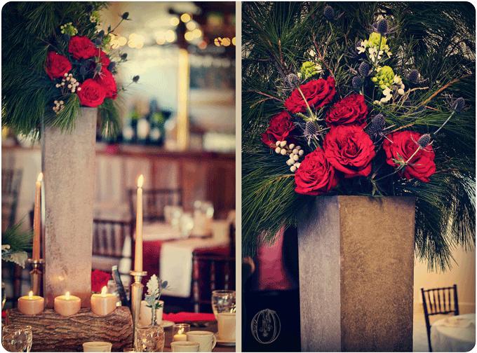 Holly-Hedge-Estate-Winter-Elegant-Rustic-Evergreen-Garden-Rose-Thistle-Wood-Concrete-Centerpiece-Oleander-New-Jersey-Bucks-County-Wedding-Florist