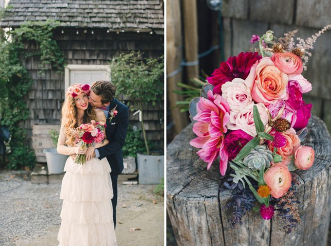 Bohemian-Ombre-Summer-Gold-Pink-Coral-Dahlia-Succulent-Rananculus-Bouquet-Rustic-Wedding-BHLDN-Anthropologie-Dress-Floral-Hair-Crown-Terrain-Styers-PA-Funnel-Wall-Lauren-Fair-Oleander-Bucks-County-PA-Philadelphia-Wedding-Florist-Floral-Design-Event