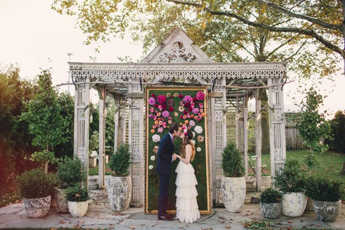Bohemian-Ombre-Summer-Gold-Pink-Coral-Rustic-Greenhouse-Wedding-BHLDN-Anthropologie-Dress-Ombre-Framed-Flower-Wall-Ceremony-Backdrop-Floral-Crown-Terrain-Styers-PA-Lauren-Fair-Oleander-Bucks-County-PA-Philadelphia-Wedding-Florist-Floral-Event-Design