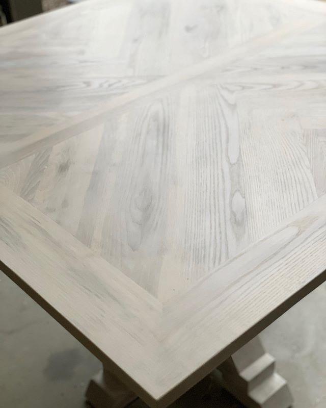 Our herringbone table in a sweetheart configuration.  #herringbone #whitewash #weddingdecor