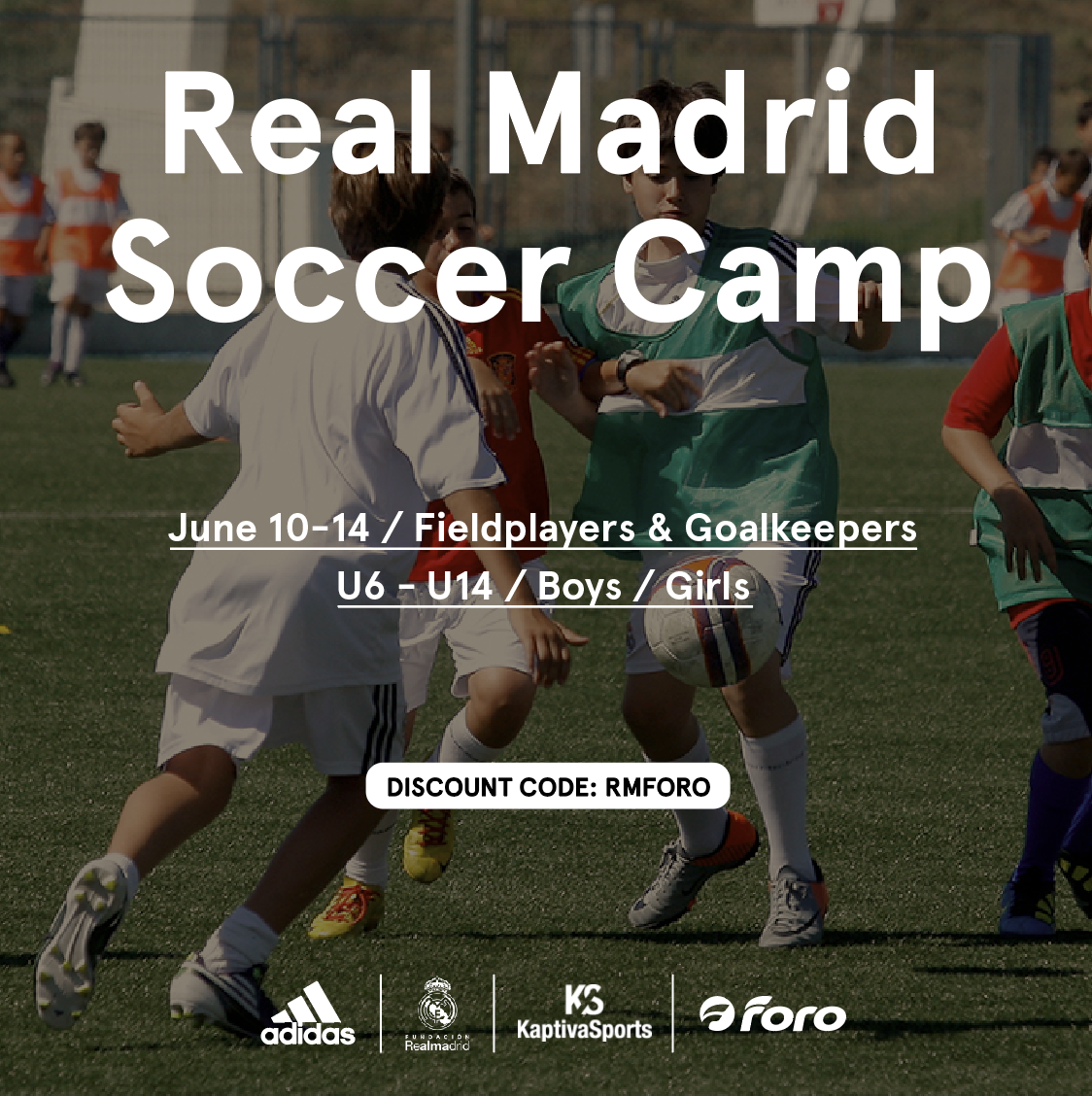Real Madrid Soccer Camp - Real Madrid is coming to Foro for a June 10-14 soccer camp!Improve your soccer skills this summer and feel like a champion at the official Real Madrid Soccer Camp in Dallas. The best-proven way to get better at soccer is hard work, teamwork and technical drills.The camp will work with players to create well rounded athletes.Ages 6-14, Boys & Girls