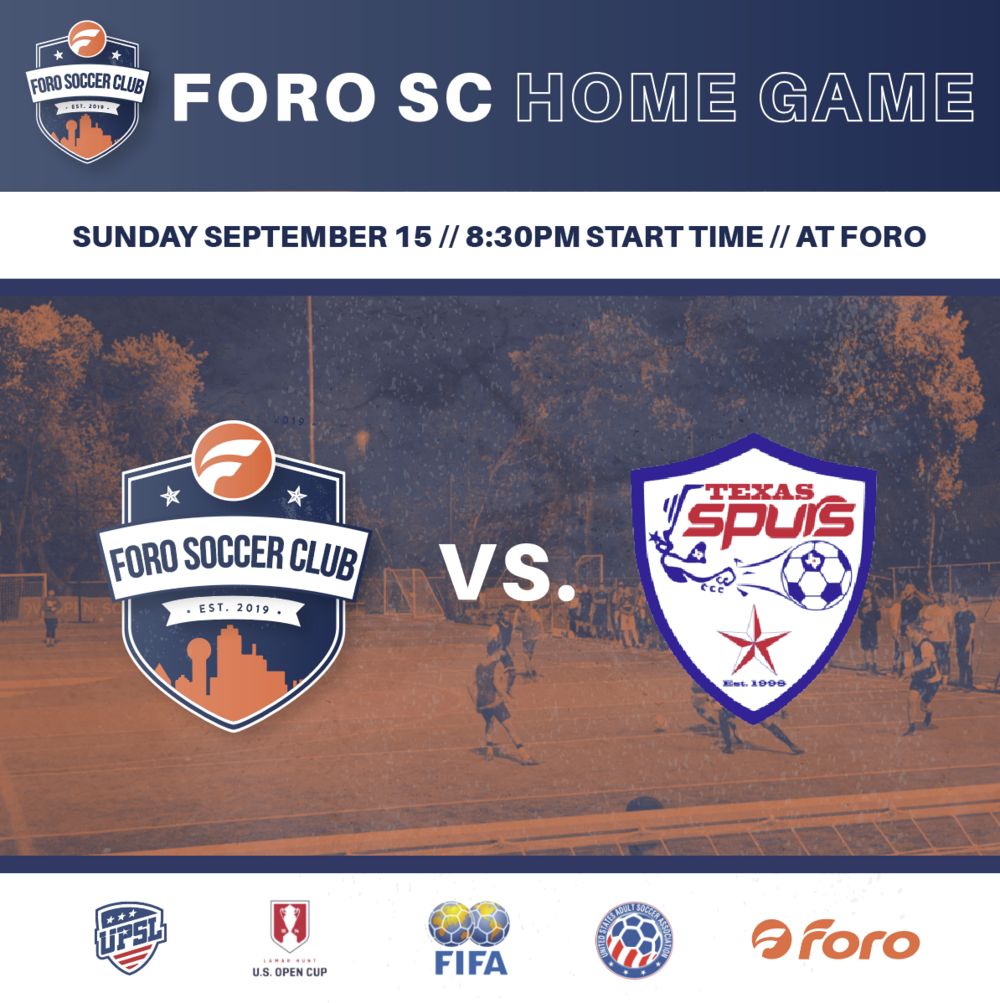 FORO SC UPSL Home Games - First up: 9/15!10$ per adult / 12 and under FREE / FREE beer (2 cup limit)This week's ticket sales will be donated to one of our player's fundraiser:bit.ly/2kGAbtfPlease support if you can!