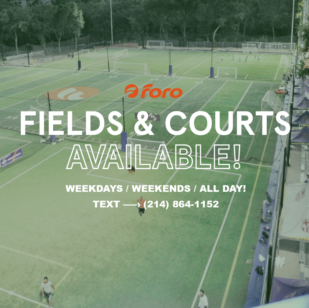Fields & Courts Available! - Text (214) 864-1152 or book online here!