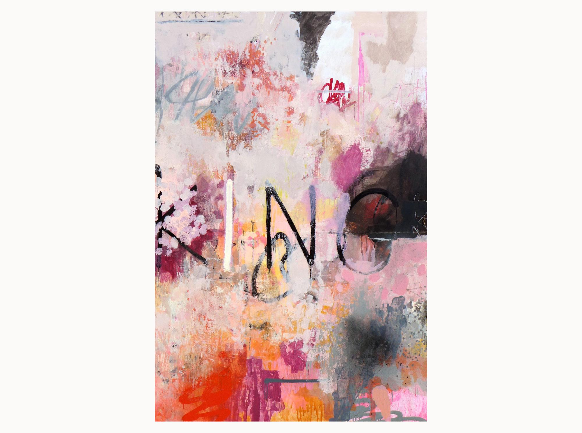 Outgrown,  2019, acrylic, aerosol, ink, plywood, 120 x 180 cm