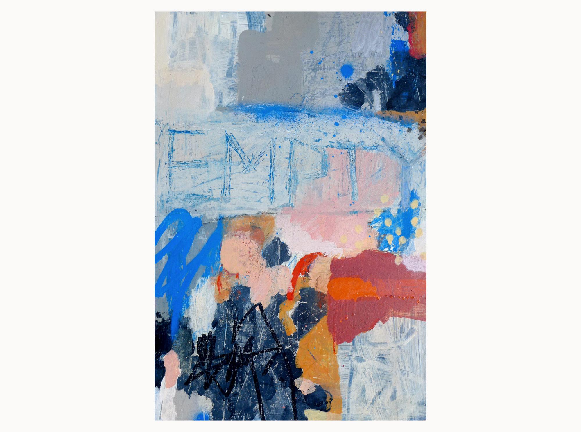 Empty sun,  2019, acrylic, aerosol, ink, plywood, 40 x 60 cm