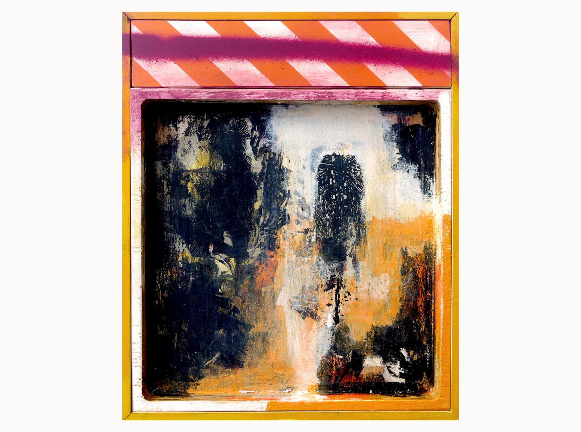 Banskia vandalism,  2015, acrylic, aerosol, wood, 35 x 45 cm