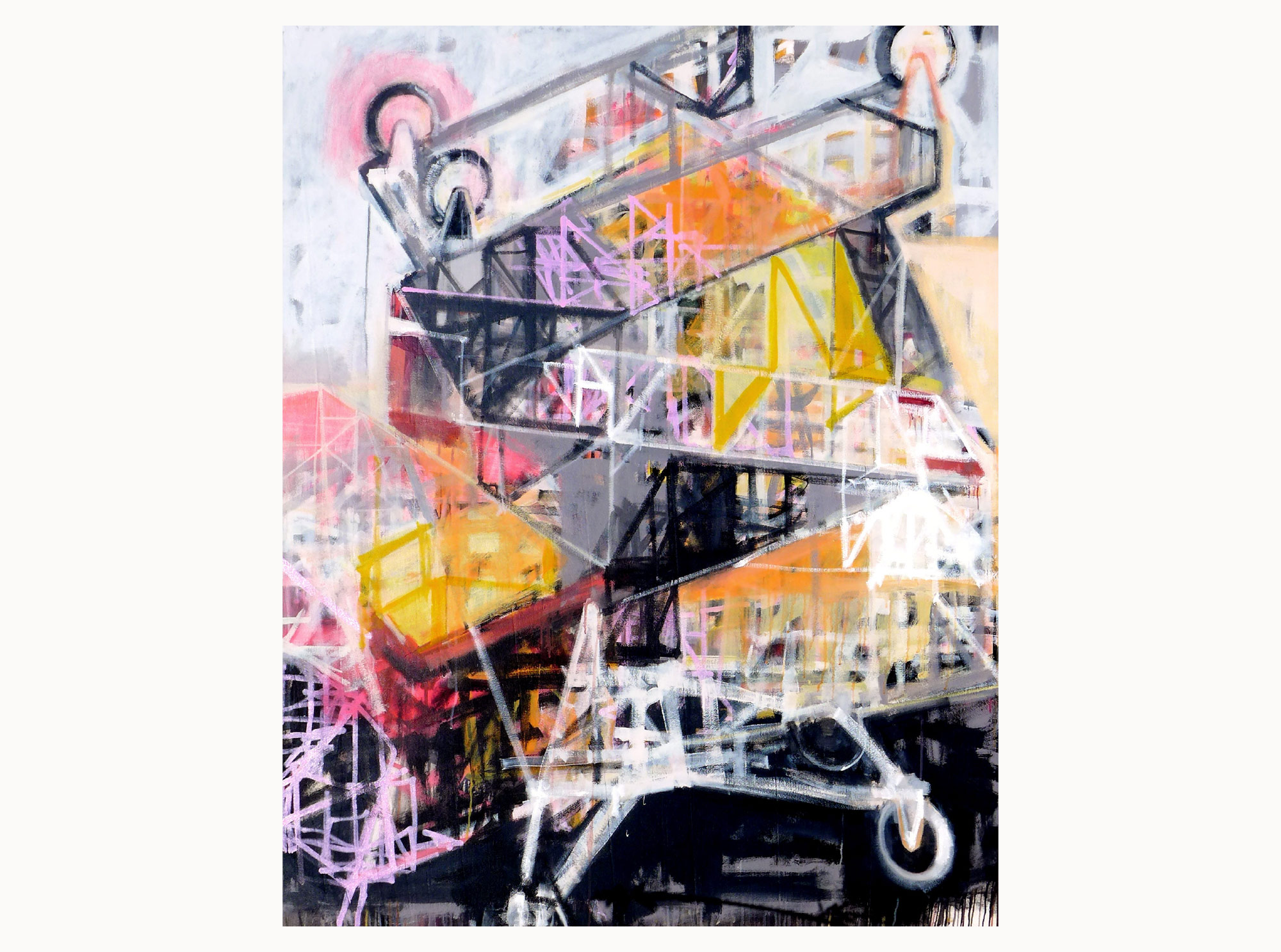 Trolley sculpture  2015, acrylic, canvas, 80 x 130 cm