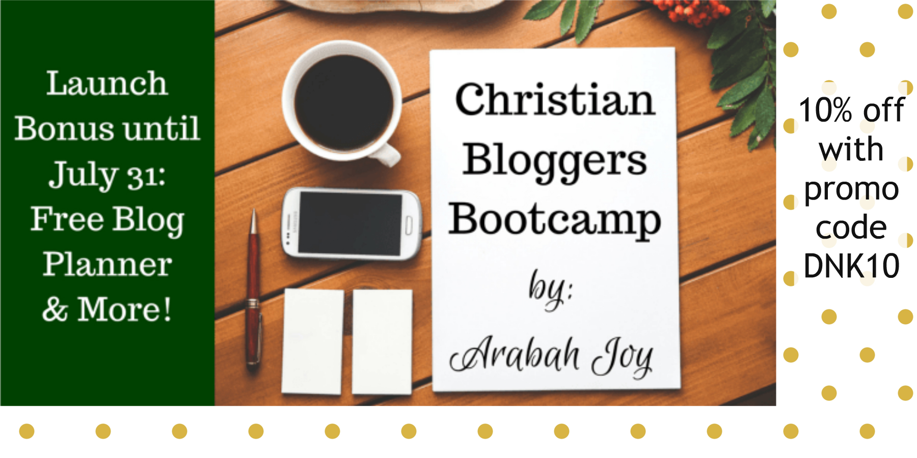 Christian Blogger Bootcamp 10% off promo code