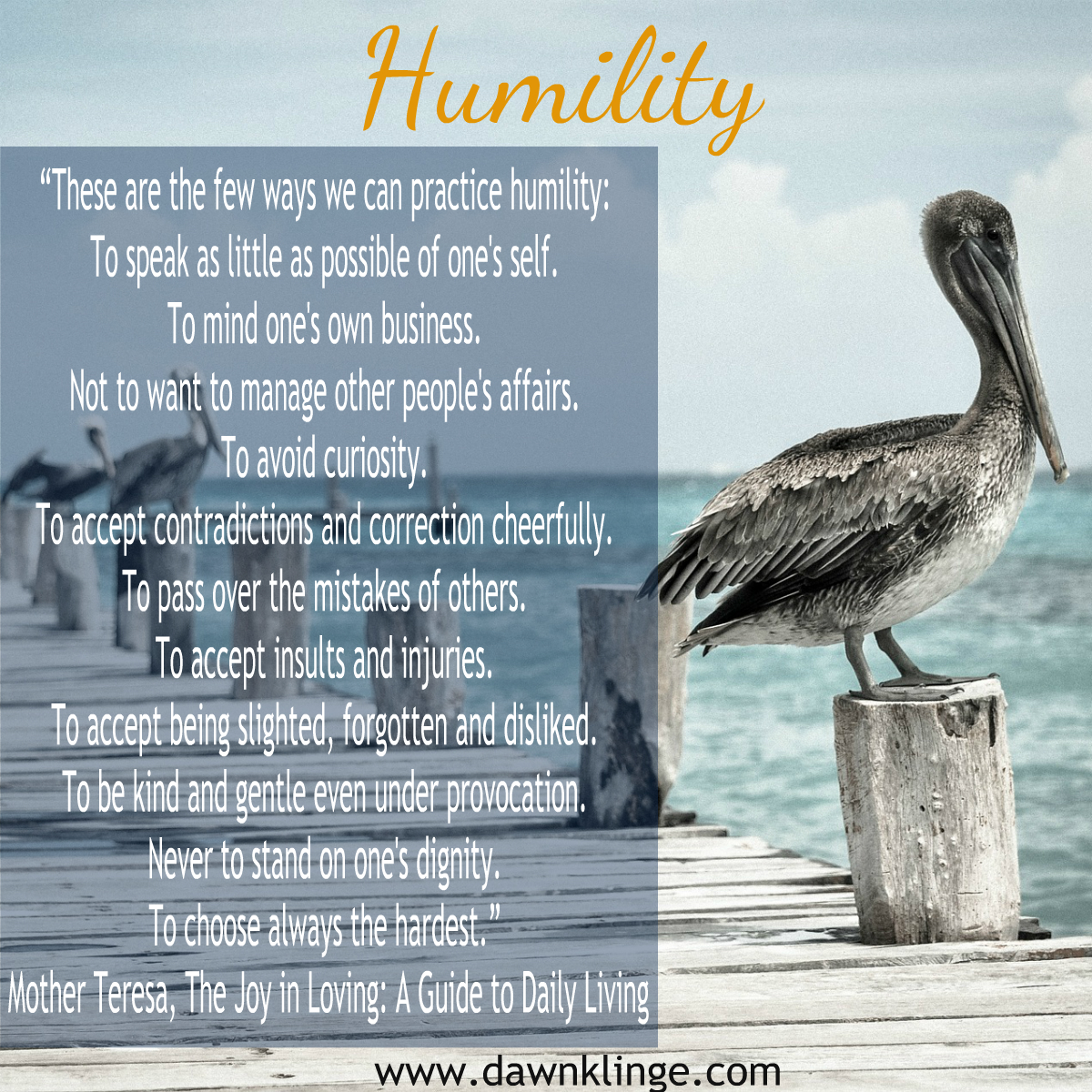 what is true humility?  Mother Theresa quote