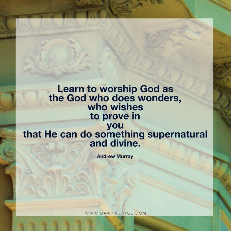 Learn to worship God as the God who does wonders, who wishes to prove in you that He can do something supernatural and divine. ~ Andrew Murray
