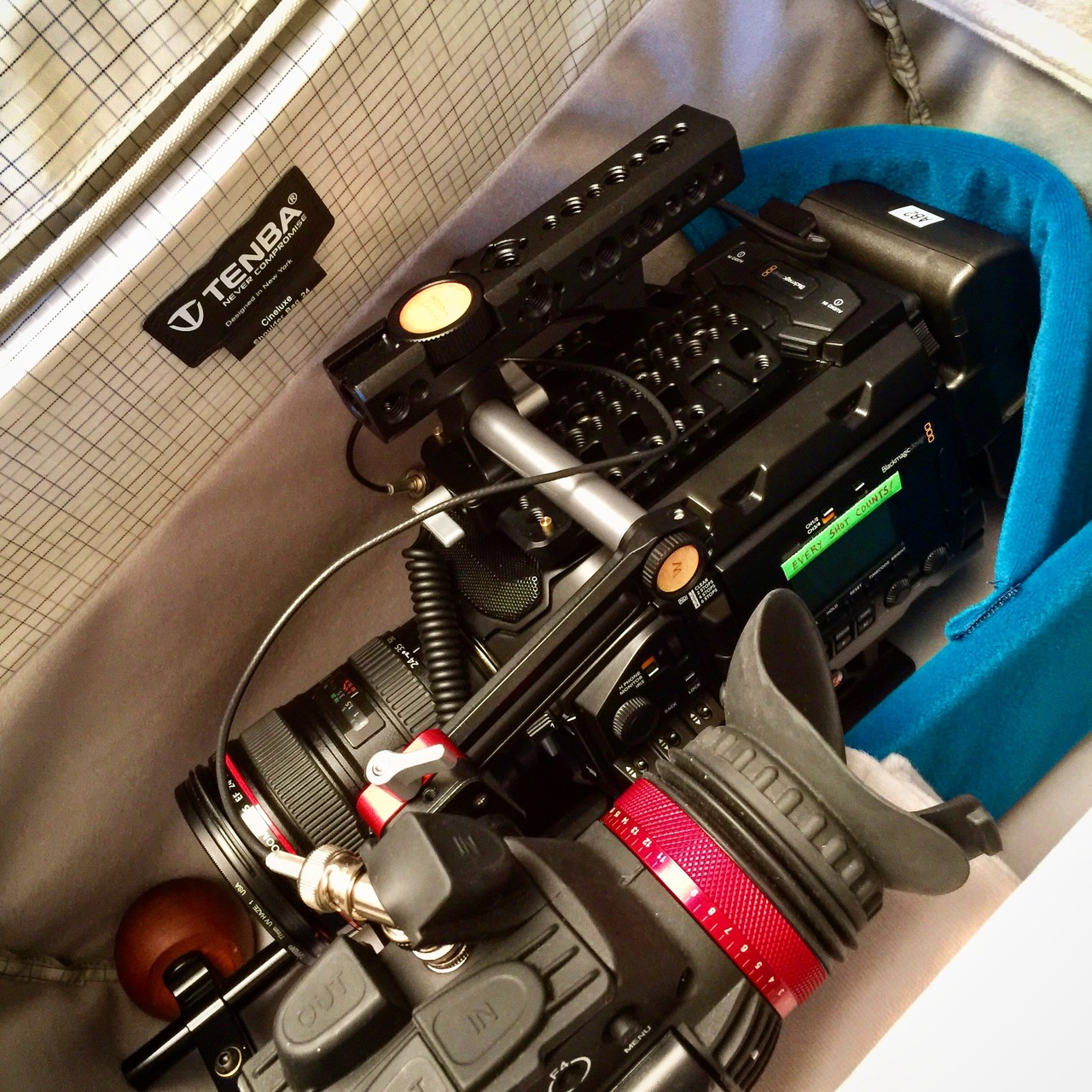Nice to have a  bag  that holds a rigged camera and accessories. And the  Zacuto  Gratical HD is a joy to use! It makes nailing exposure and focus much easier.