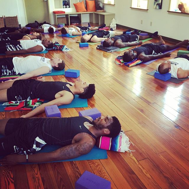 Throw back to Summertime yoga with the Xavier men's basketball team at @theshaktifactory. Last night was such an exciting win over Villanova. So proud of my guys! Hope you get some relaxing shavasana time in and let the win soak blissfully in. #LetsGoX #PracticeTowardProgress #xu #xubasketball #xavier #muskies #yoga #yogaforbasketball #shavasana #XavierBasketball #beatnova