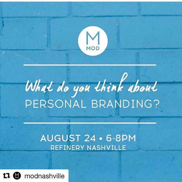 #Repost @modnashville with @repostapp ・・・ This Wednesday we'll be talking about goals and experiences with personal branding. Join us, and bring a friend to this free event at @refinerynashville! RSVP at the link in our bio.