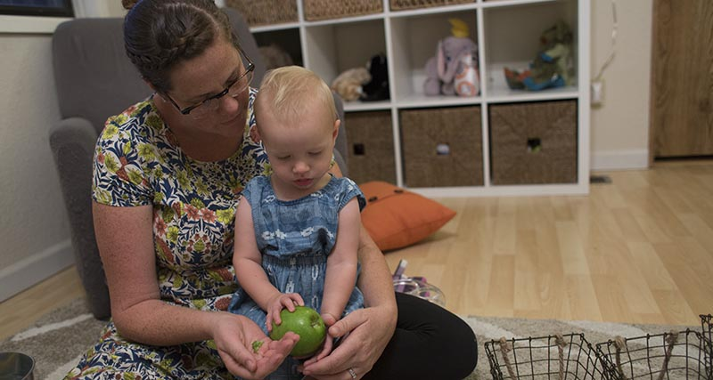 Corrie Ordway and her daughter Eleanor.  Photo by Andrew Nixon / Capital Public Radio