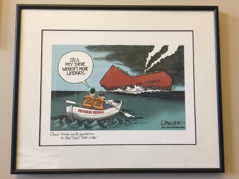 Political cartoon on office wall of former San Jose mayor, Chuck Reed. Photo: Ali Budner