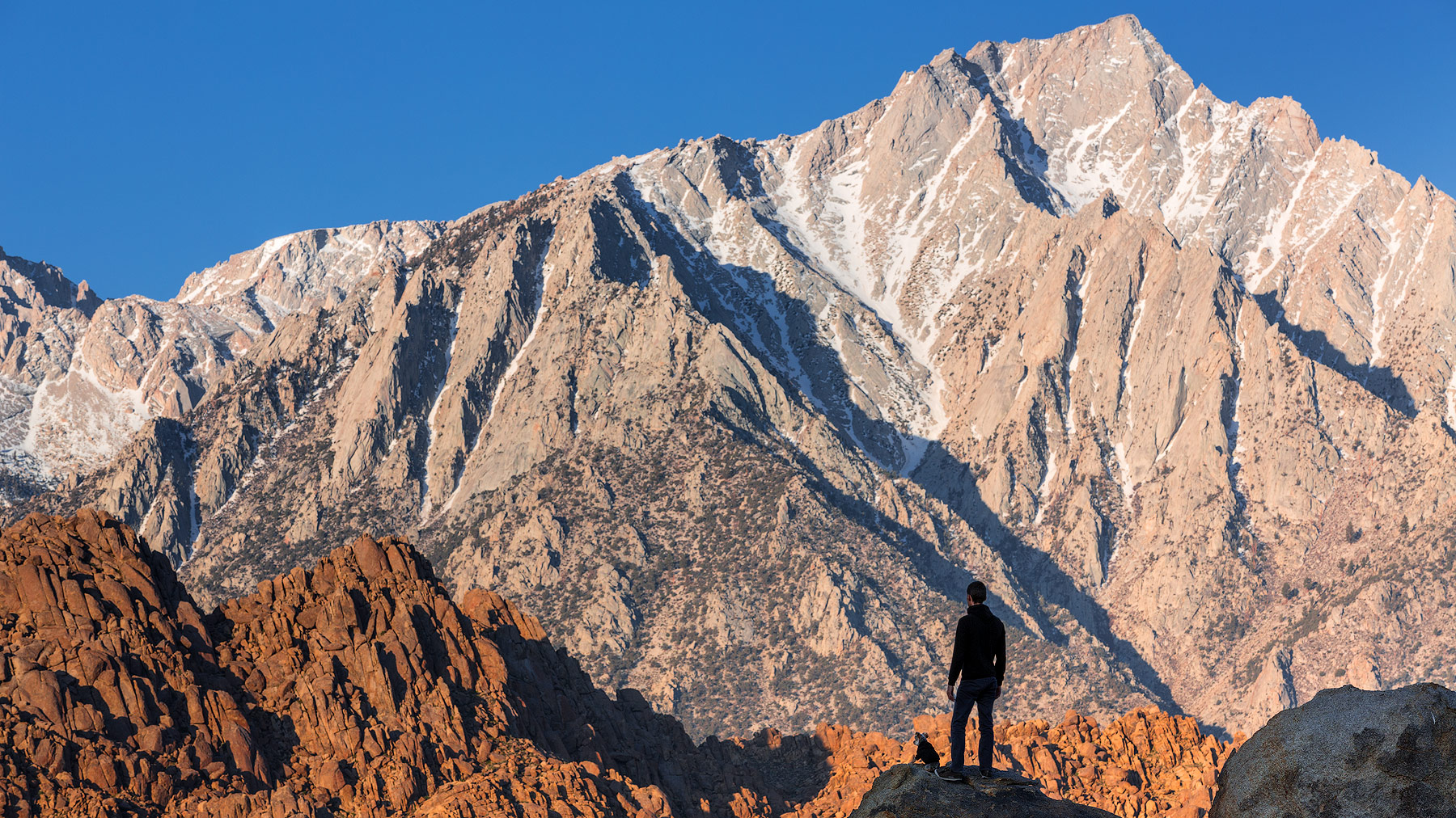Dominic Boudreault and his dog, Bruce in Lone Pine, California, USA