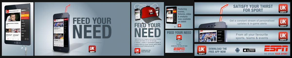 Design Producer 'Feed Your Need' online campaign Client: ESPN EMEA Agency: BDA Creative, London