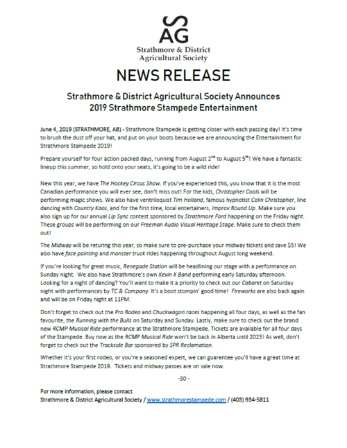 Strathmore Stampede — Strathmore Ag Society