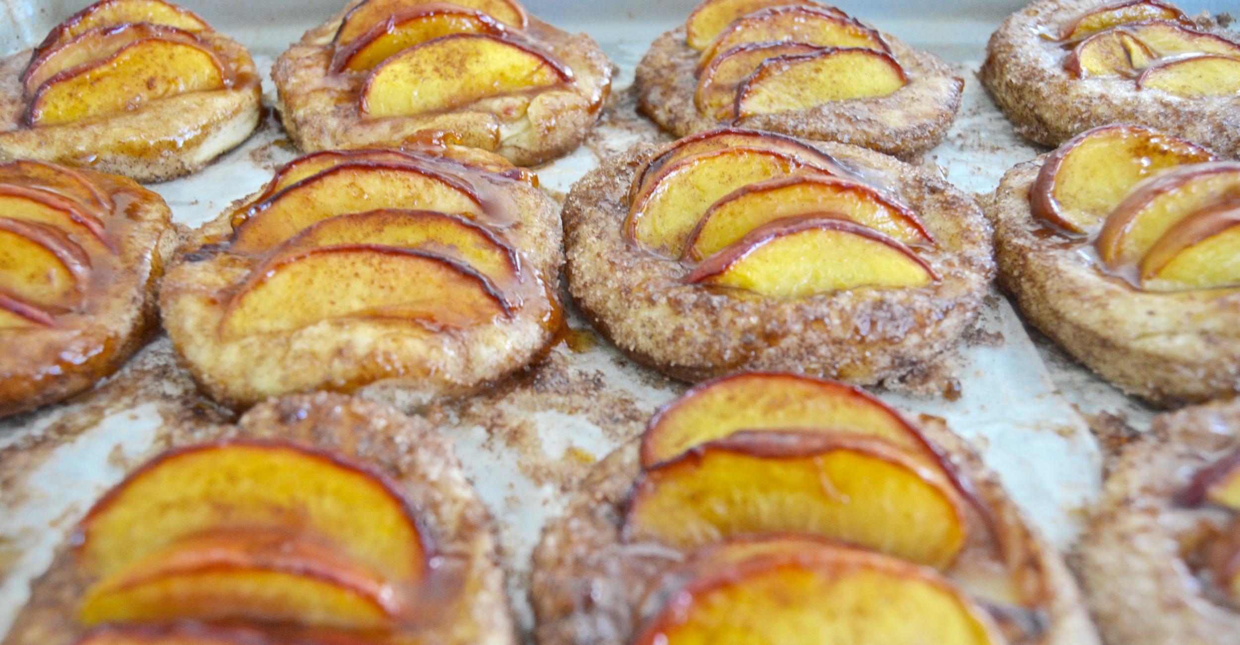 Cinnamon Kissed Roasted Peach Biscuits