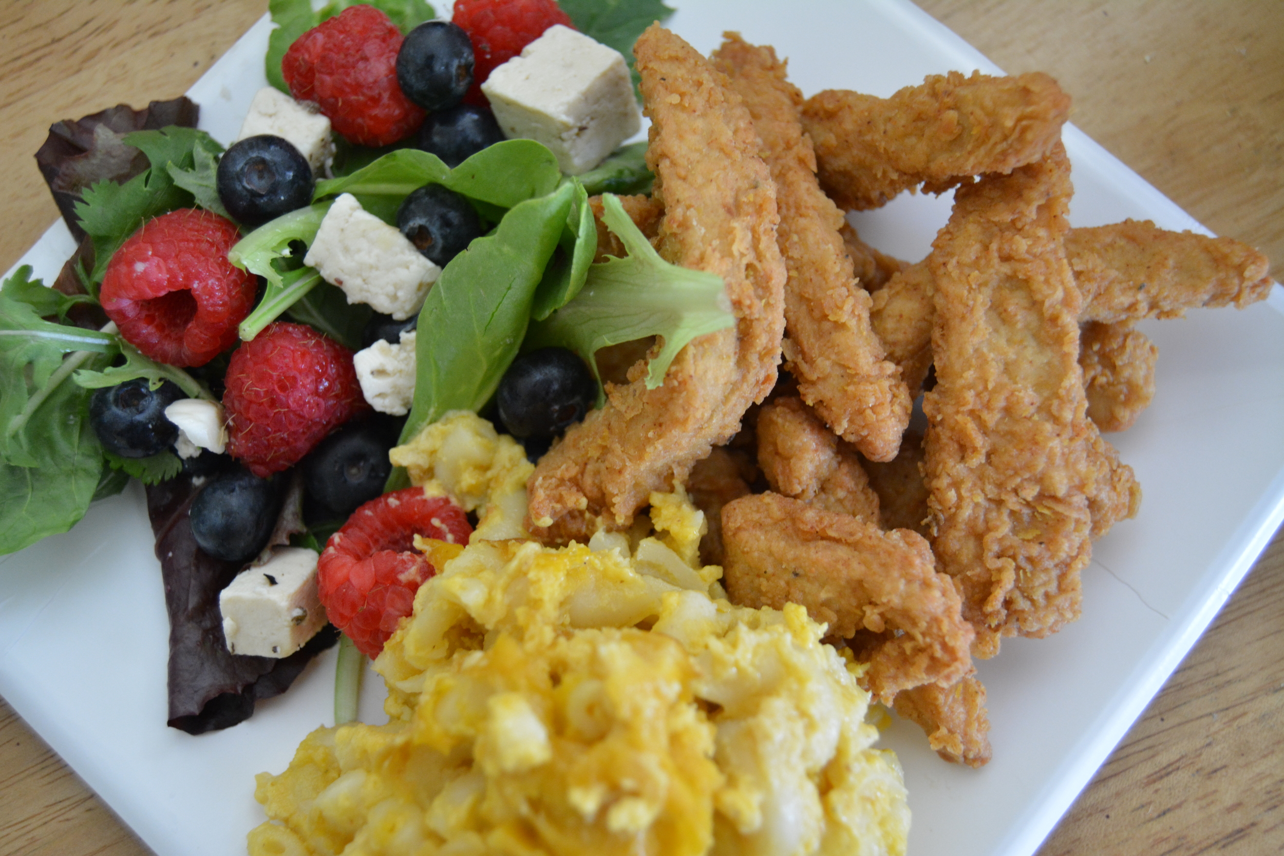 Seasonal Summer Plate; Fresh Berry Salad with Homemade Herbed Feta, Baked Macaroni and Cheese, and Southern Fried Seitan Strips