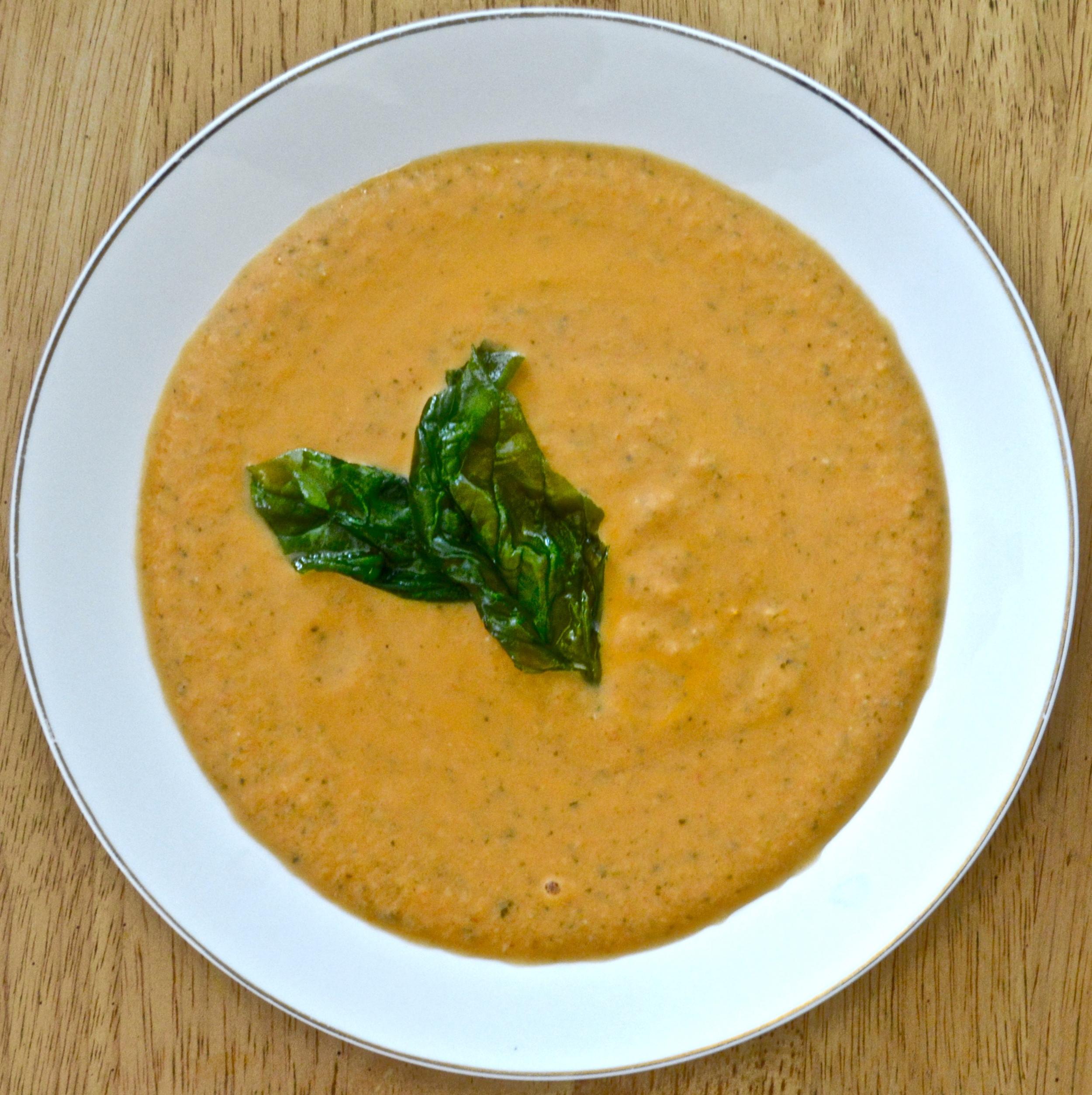 Creamy Tomato Soup + Crispy Basil