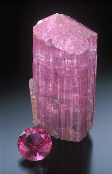 Classic rubellite, pink tourmaline from Pala district, Stewart Lithia Mine, San Diego County. (Photo: Jeff Scovil)