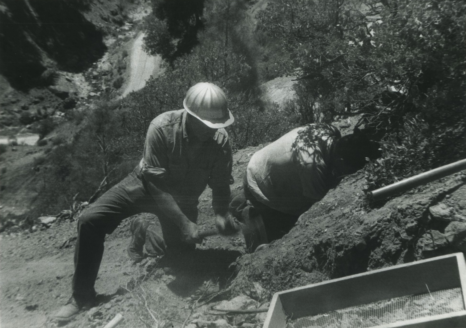 Digging at the Benitoite Mine, Fall 1962. Photo from John Sinkankas, Collection of Bill Larson.   Click to enlarge.