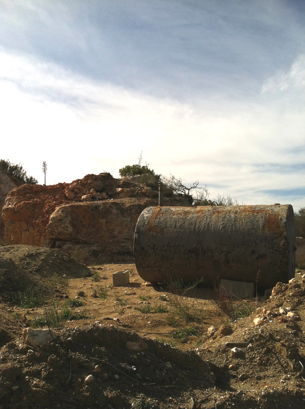 The watertank and upper glory hole at the Esmeralda Mine.    Click to enlarge.