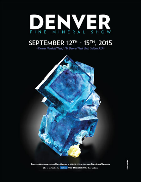 Cover star for the Denver Fine Mineral Show is a Chinese fluorite photographed by James Elliott.