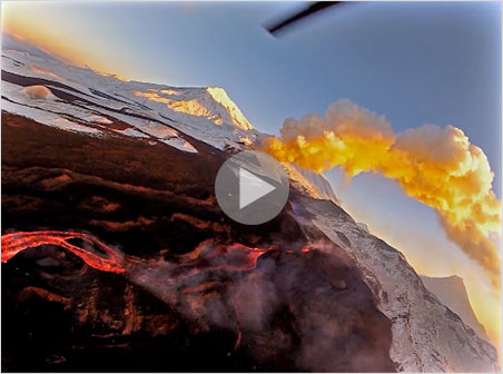 Lava flows far from its source in this  streaming video , whereby the videographer drone captures some of the action. Shown is one of the two Tolbachik volcanoes—the Plosky (flat). The other is the Ostry (sharp).