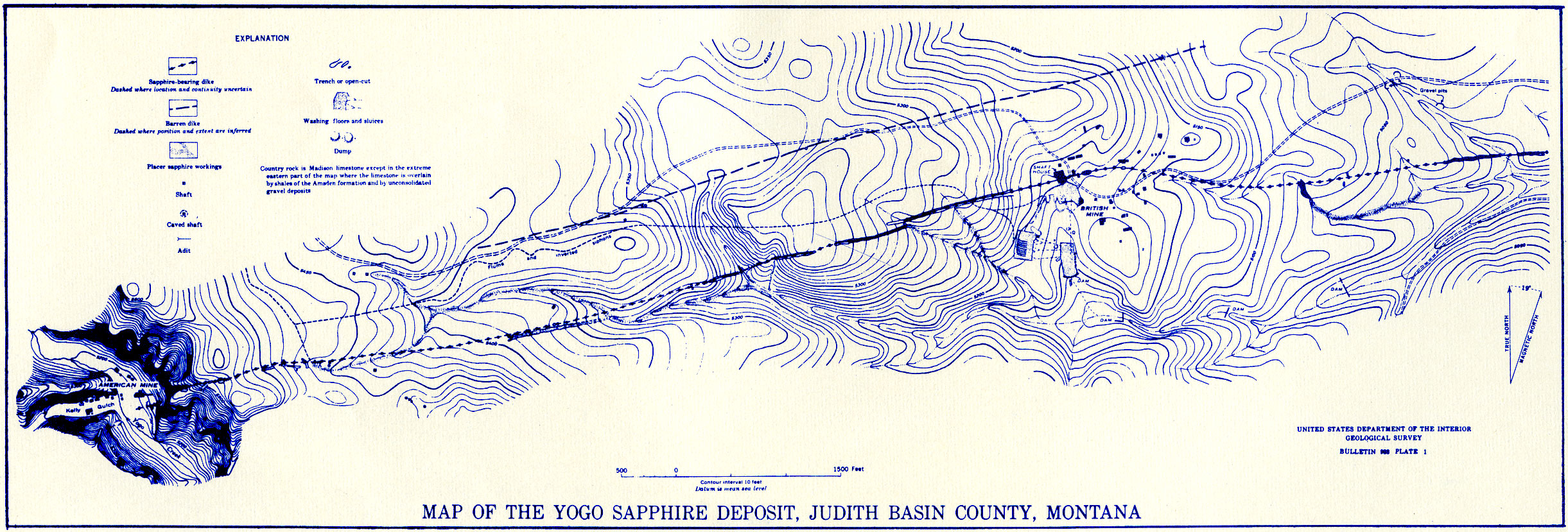 Plate 1.—Map of the Yogo Sapphire Deposit, Judith Basin County, Montana. ( Click  to enlarge)