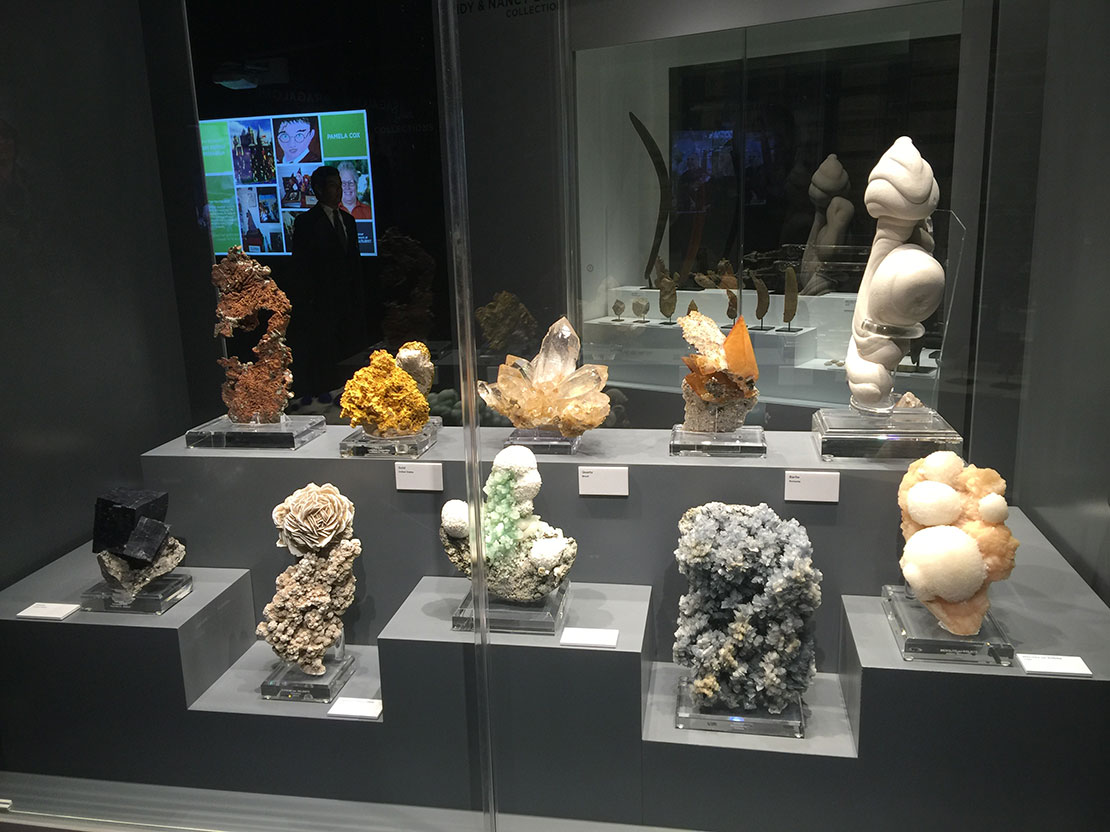 From Nancy and Randy Best.   Besides being collectors, the Bests are philanthropists and patrons of the arts, including the Perot Museum.  Above, a display of large specimens (though not quite as large as those of the Peabody). Clockwise, from upper right: a sibling to the Peabody's sandstone concretion (France), mesolite on stilbite, calcite, green apophyllite with calcite balls (India), gypsum and selenite, galena, copper (U.S.), gold (U.S.), quartz (Brazil), calcite and sphalerite on chert (U.S.). (Photo: Will Larson)