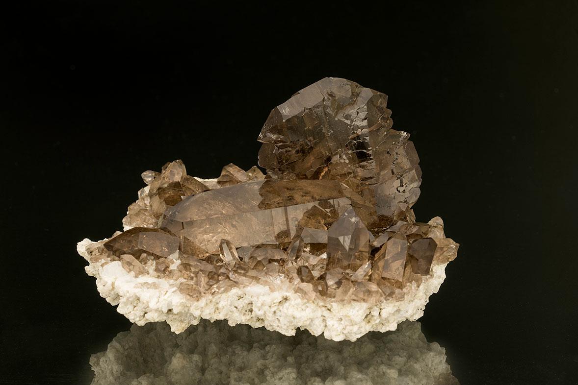 Crystal clear. Smoky quartz gwindel from Zinggenstöcke, Switzerland.The main gwindel crystal is 4.5 cm tall x 4 cm wide.The whole specimen measures 10.2 cm x 9.1 cm. (Photo: Mia Dixon)