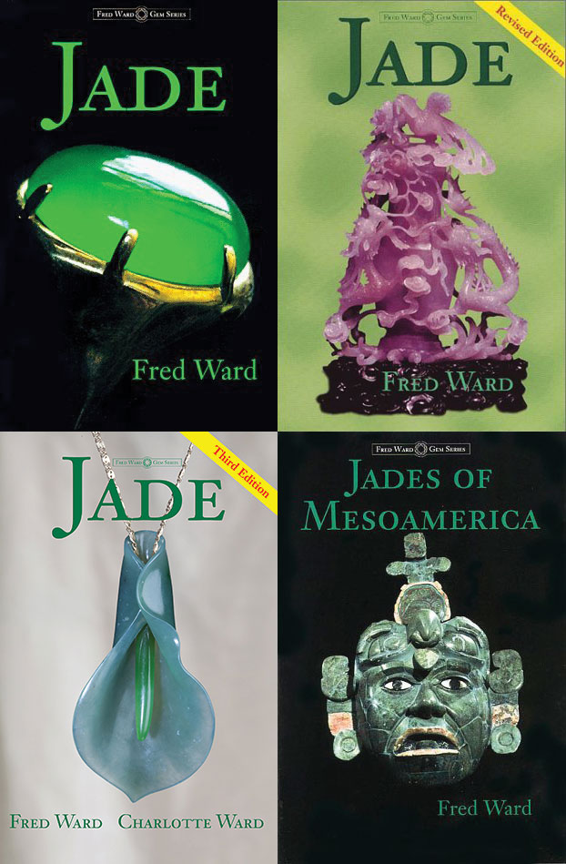 Fred Ward's four books on jade—two of his nine-volume series on gemstones—reflect his particular love of this stone. Clockwise from top left, the first edition (1996), the second (2001),  Jades of Mesoamerica  (1997), and the new edition of  Jade  (2015). The Wards issued 19 books or revisions during the 24 years since the series launched in 1992.