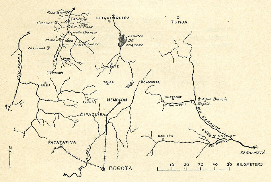 Fig. 1.—Sketch map showing approximate locations of all important emerald mines and prospects in Colombia. (Data in part supplied by Robert Scheibe, July, 1915.)