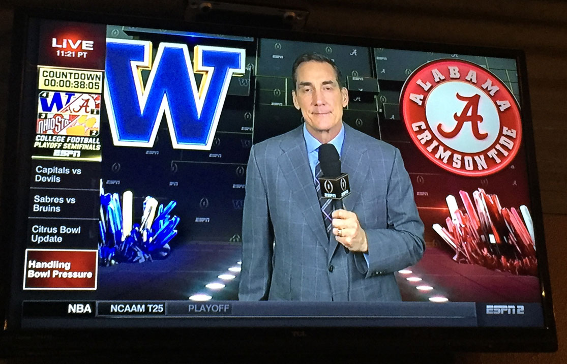 ESPN's Peach Bowl pregame show featured some colorful crystals, as shown above. The channel has been employing crystal imagery since at least 2015, as shown by the ad below.