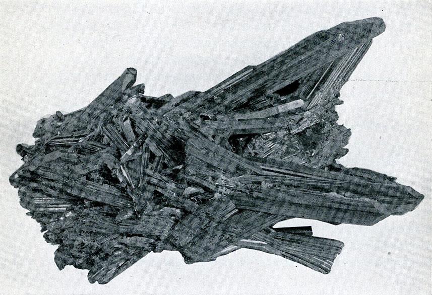 Stibnite from Ichinokawa Mine, Iyo, Japan.  A group of slender prismatic crystals.