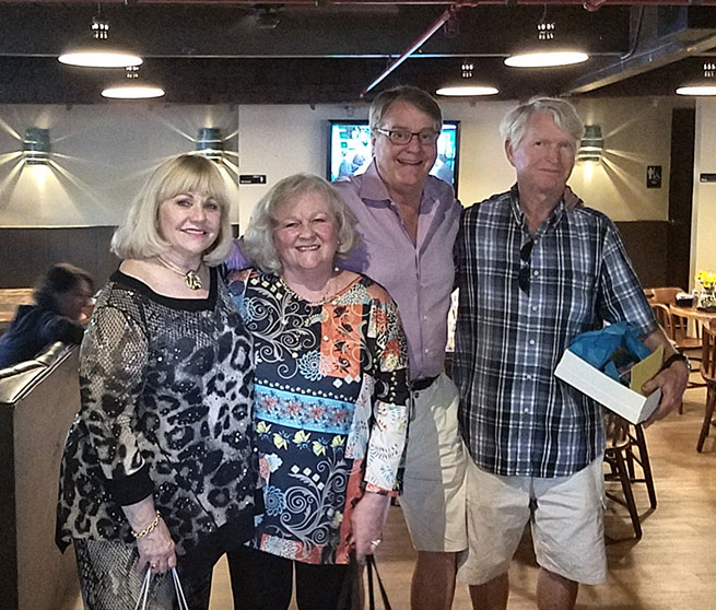 A fond farewell.  The Pala crew congratulates Jill Stordahl-Hall (second from left) and John McLean (far right) on the occasion of their retirement. Also pictured are Jeanne and Bill Larson. (Photo: Mia Dixon)