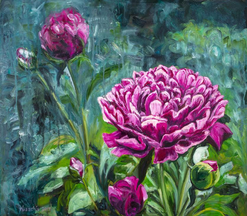 """Magenta Peonies in the Garden   Oil 28""""x 32"""""""