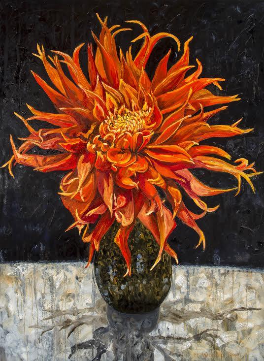 "Big Orange Dahlia    Oil  48""x 36"""