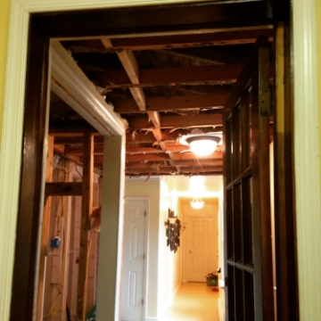 Our hallway, today. Our oldest two and I assisted my husband significantly withthe demo work