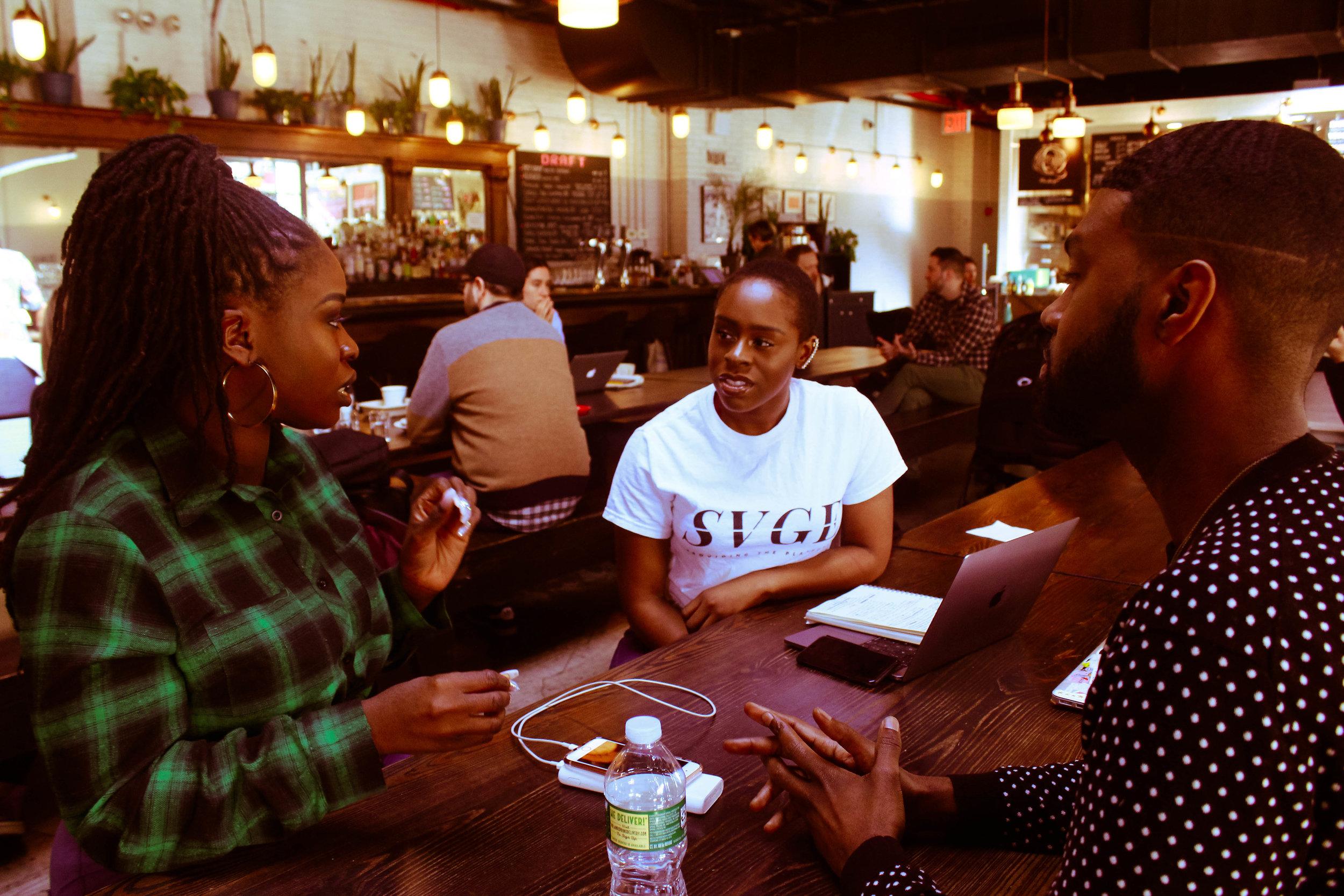 Ashley Akunna ,  Ime Akiko , and  Donovan Thompson,  photographed by  Chioma Nwana .