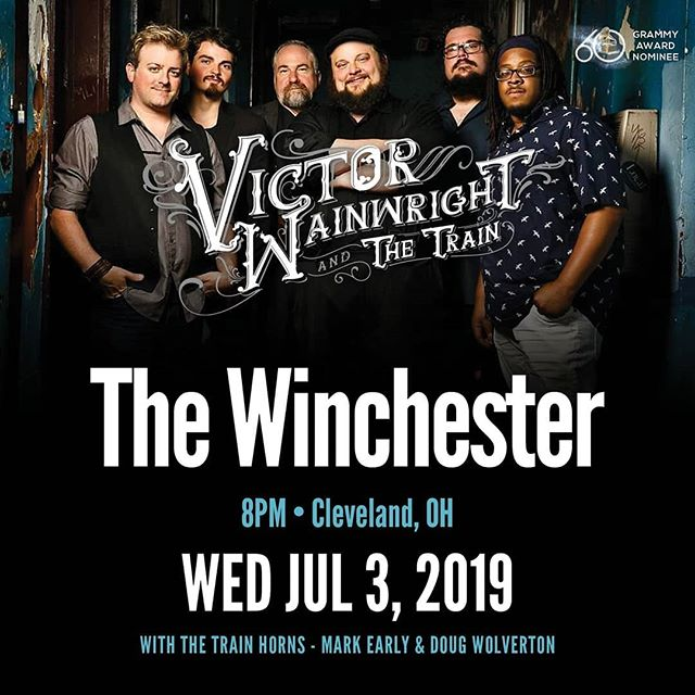 JULY 3rd -Come on out and join me and The Trains Big Band with Terrence Grayson, Billy Dean, Pat Harrington, Mark Earley and Doug Woolverton .  Advance ticket sales by calling the pub @ 814-205-4211 #VictorWainwright #victorwainwrightandthetrain #thetrain2019 #thetrain #memphisloud #thewinchester #lakewoodohio